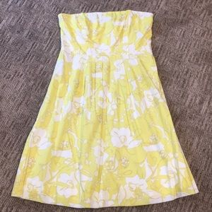 The Limited Yellow/White Strapless Floral Dress 12